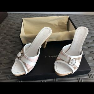 Burberry white pink plaid clog sandals